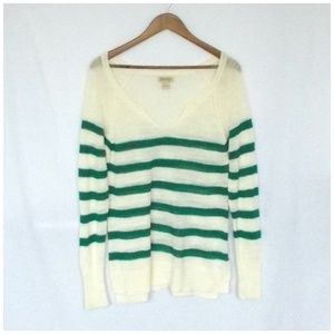 Lucky Brand Green & Ivory Striped Knit Sweater